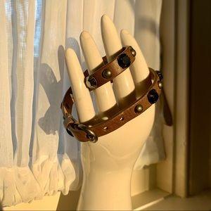 J. Crew Grey Studded Leather Wrap Bracelet